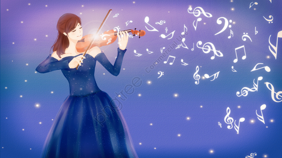 musical instrument violin night sky note, Beautiful, Dress, Girl llustration image