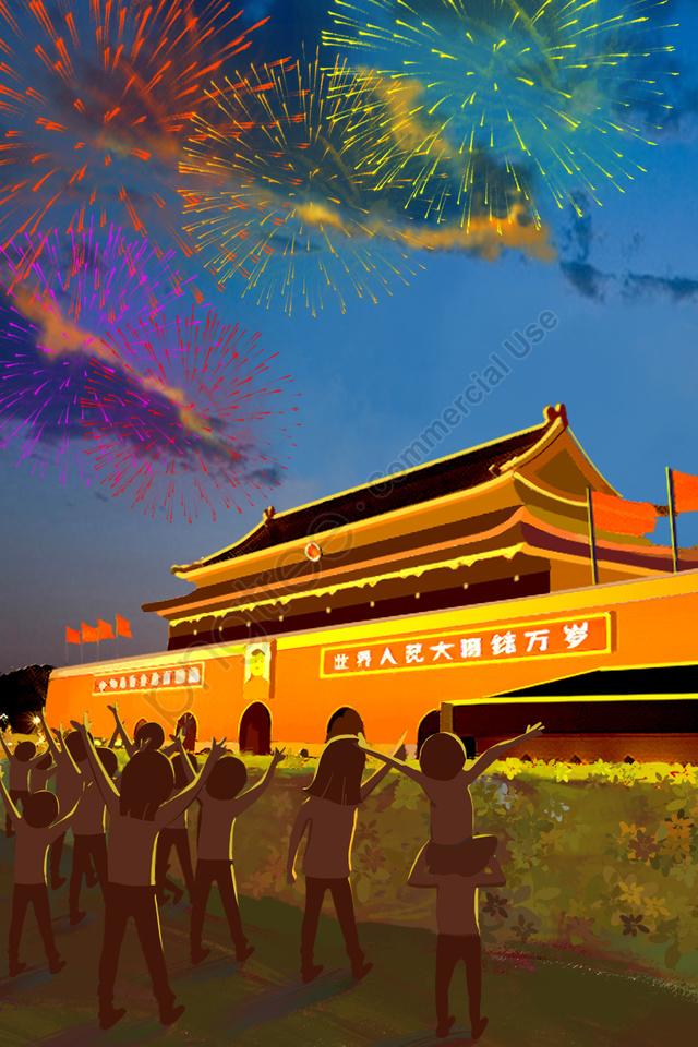 ナショナルデーナショナルデー夜の花火, 群集, イラスト, 国民の日 llustration image