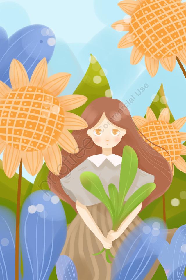 Bảo Vệ Môi Trường Tự Nhiên Cô Gái, Hoa Hướng Dương, Thanh Sơn, Màu Xanh. llustration image