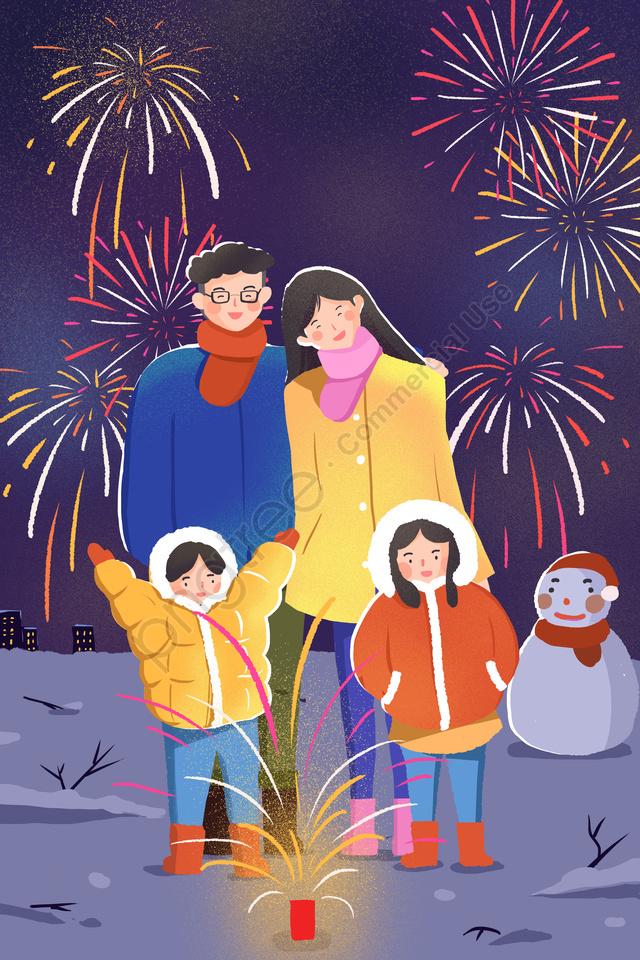 Ano Novo Festival De Primavera Fogos De Artifício Pintados à Mão, A Família, Reunião, Boneco De Neve llustration image
