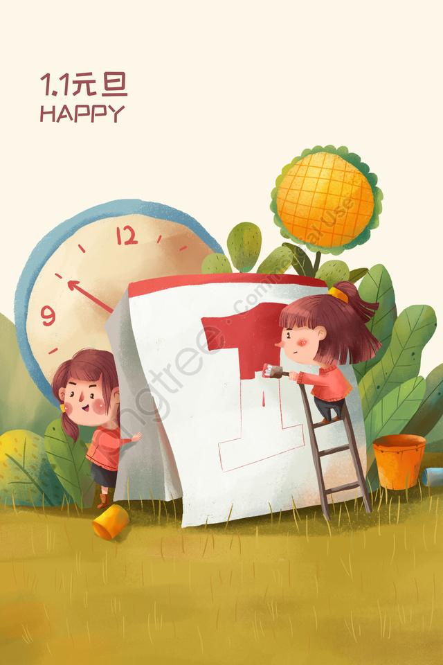 새해 새해 달력 1 월 1 일, 나무, 시계 llustration image