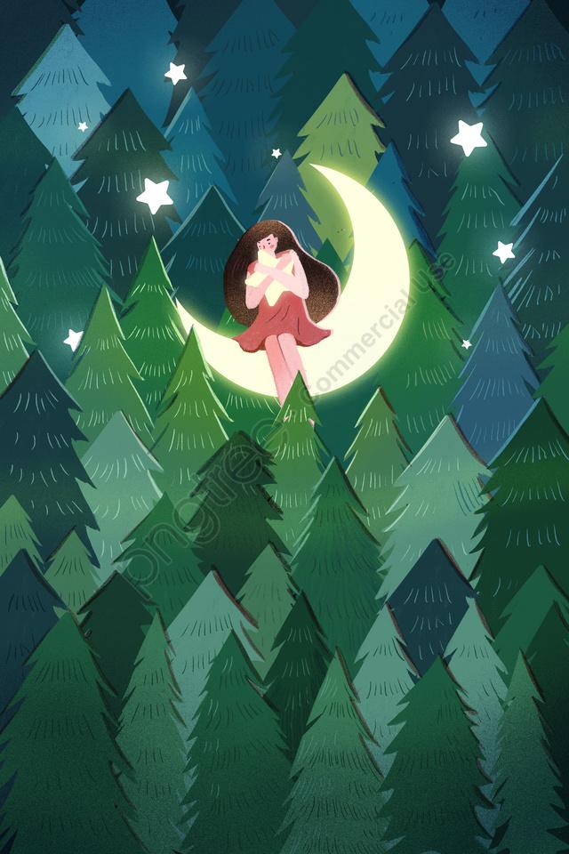 夜の夜おやすみなさい, イラスト, 手塗り, 森 llustration image