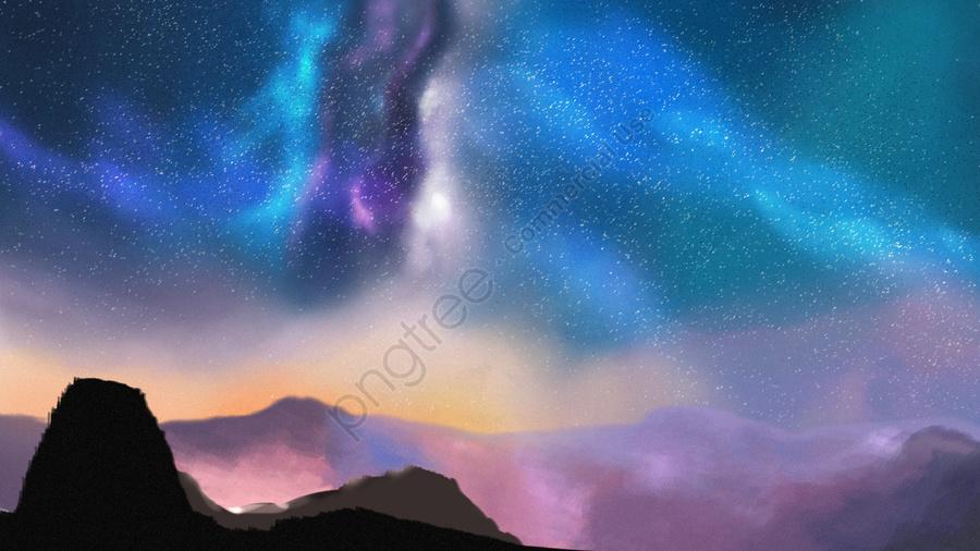 야간 은하계 별빛, 극광, 하늘, 산 llustration image