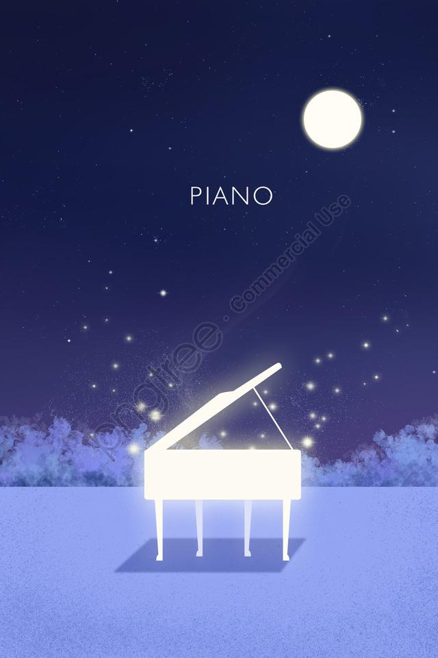 Night Quiet Night Night Moon, Blue, Purple, Music llustration image