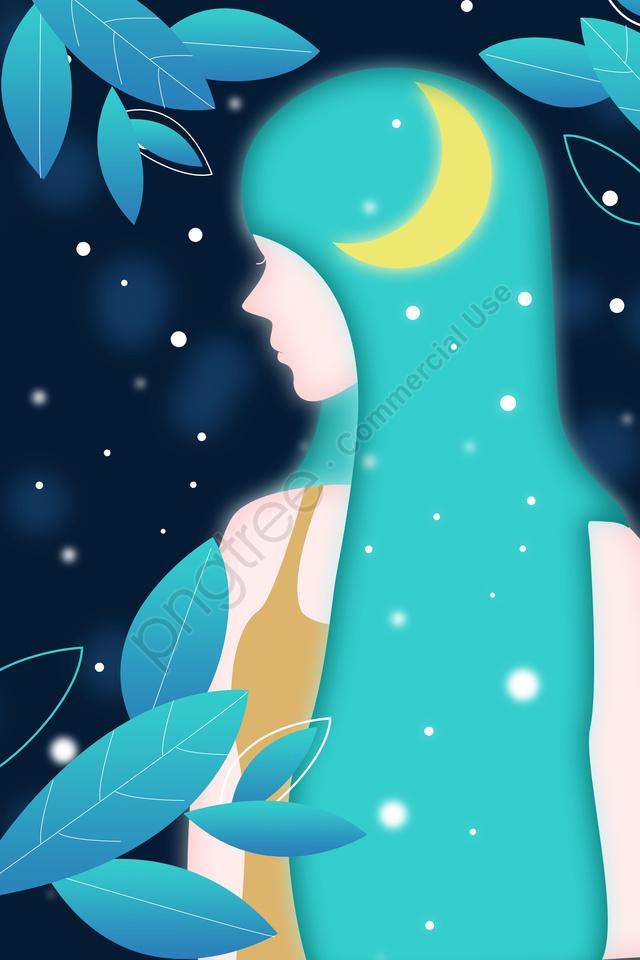 Malam Bermalam Langit Langit Malam Gadis Impian, Kreatif Ilustrasi, Gadis Bercahaya, Rambut Panjang llustration image