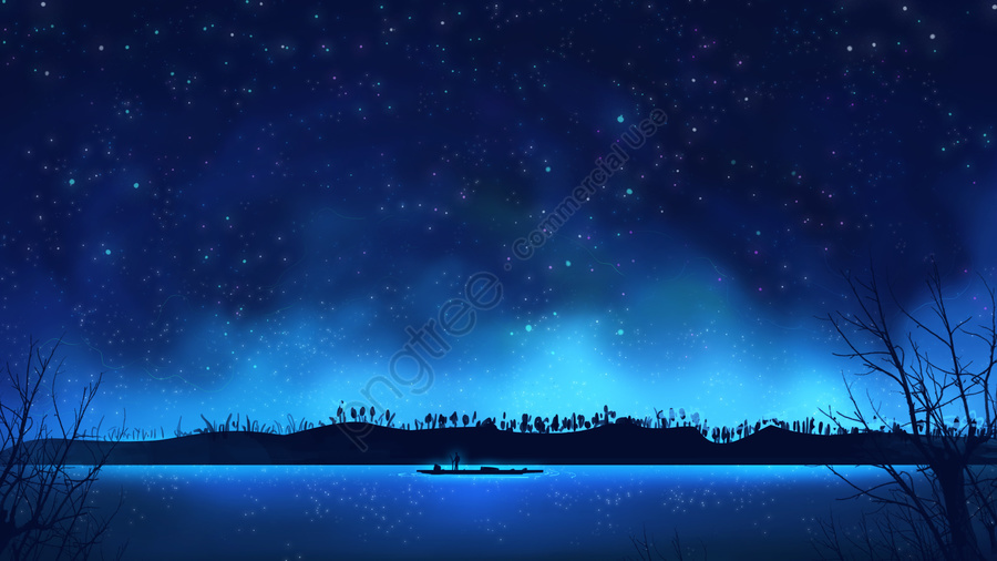 night starry sky starry sky star hand painted, Blue, Night Starry Sky, Starry Sky llustration image
