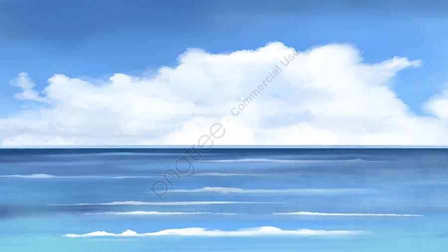 바다 손으로 그린 푸른 하늘, 구름, 바다, 자유형 llustration image