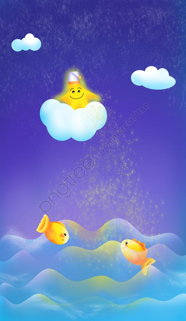 海洋夜空滿天星斗的天空之星, 雲層, 魚, 波動 llustration image