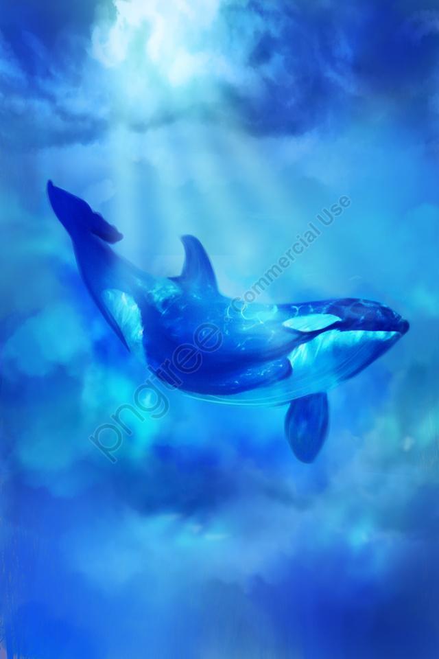 海のクジラの夢の治療法, 神秘的, 紺碧, 海 llustration image