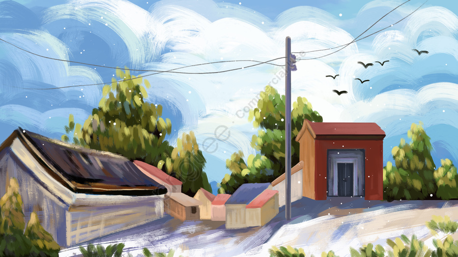 oil painting hand painted illustration spring, Spring Landscape Hand Drawn, Sky, Small Village Illustration llustration image