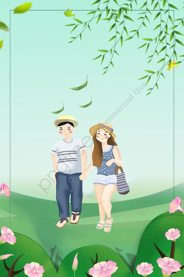 屋外旅行フレッシュブルー, カップル, 手塗り, 広告 llustration image