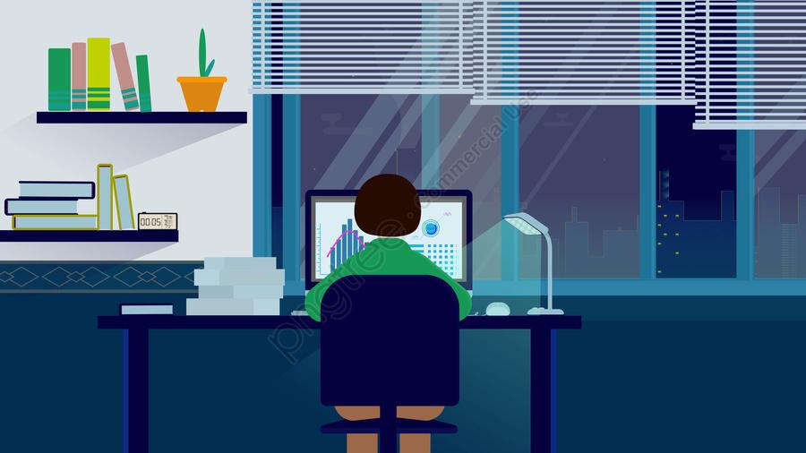 сверхурочная ночь настольный компьютер, настольная лампа, книжная полка, окно llustration image
