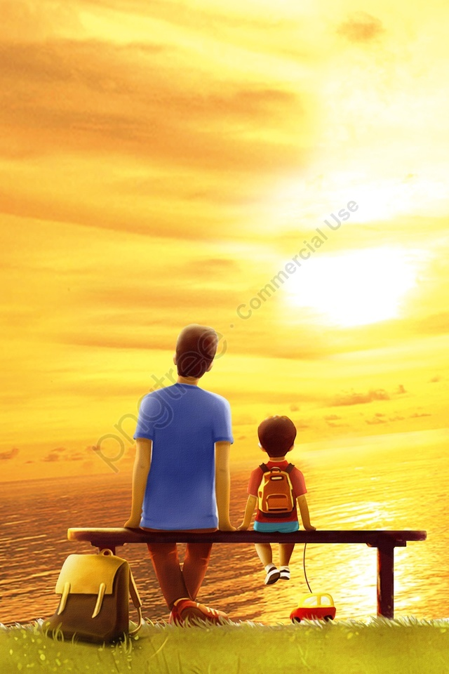 parent-child sunset grass sunset, Simple, Literary, Cartoon llustration image