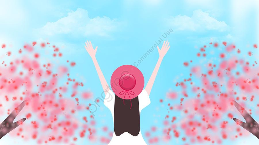 桃の花桃の花, バックビュー, 春のツアー, 外出 llustration image