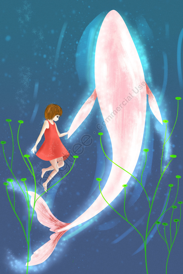 people and animals girl whale healing, Literary, Retro Texture, Cartoon llustration image