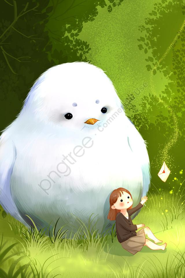 ハト白い鳥鳥美しい, 森, 封筒, ガール llustration image