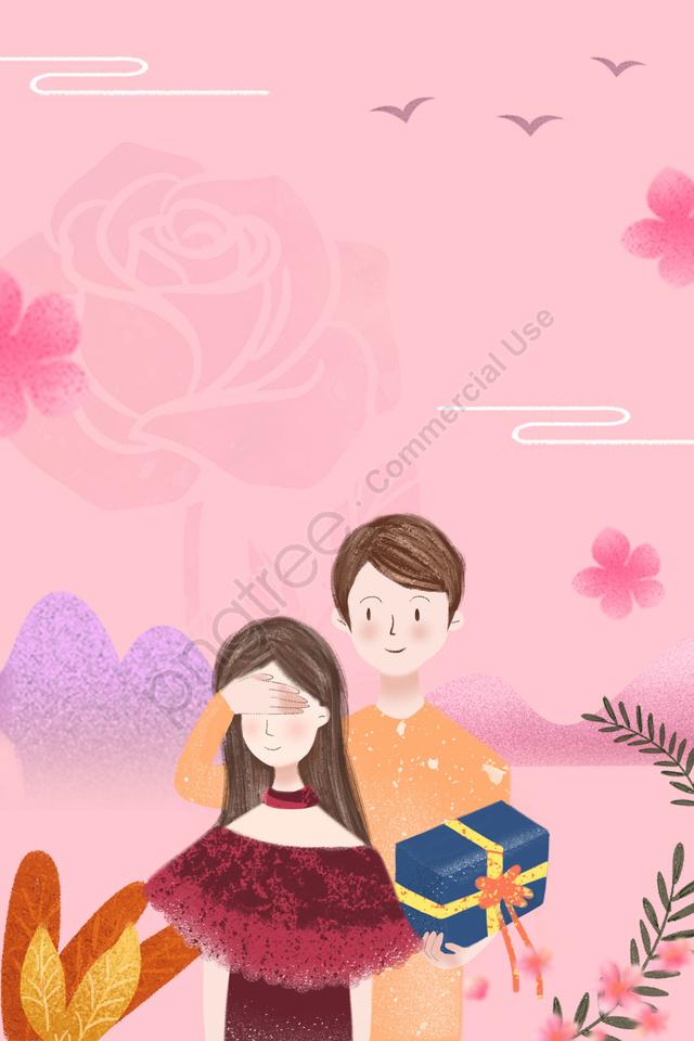 ピンクのカップルの七夕の花の背景, カモメ, 男女, ギフト llustration image