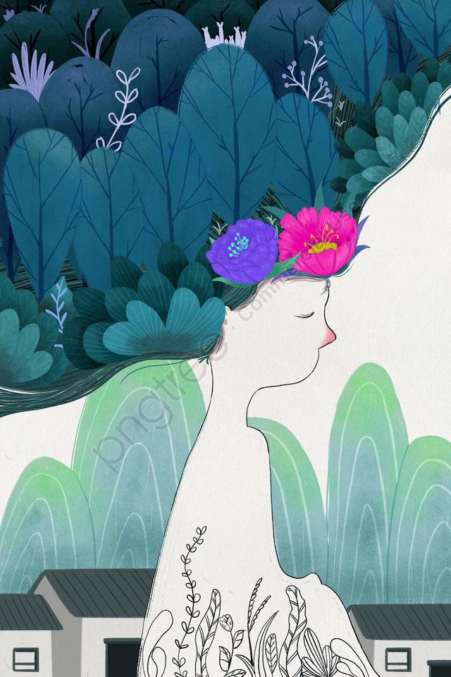 植物フォレスト花木, 家, 十代の少女, 線画 llustration image