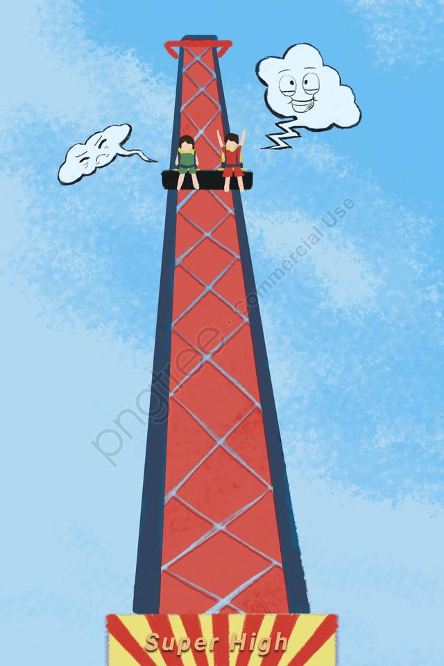 遊園地で遊ぶ興奮, エレベーター, 遊び, ハッピー llustration image