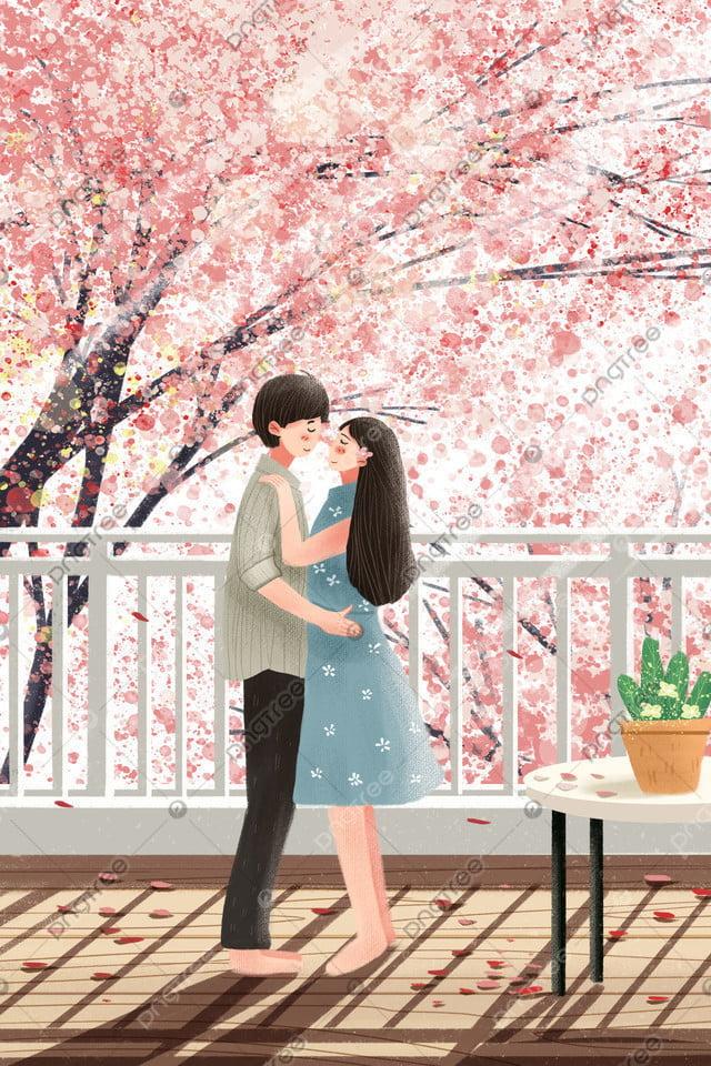 プロット男カップル桜ロマンチックロマンチック, 手塗り, キュア, ピンク llustration image