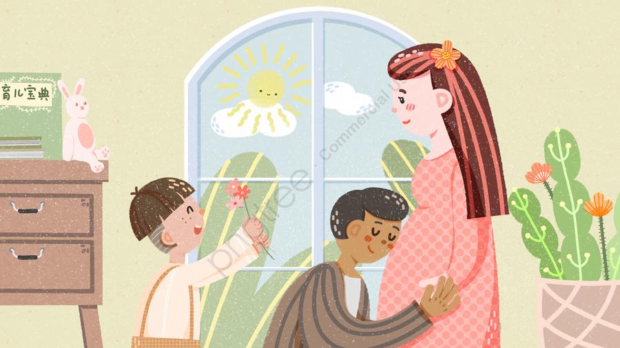 孕婦寶貝媽媽和寶貝媽媽, 媽媽, 父親, 小孩 llustration image