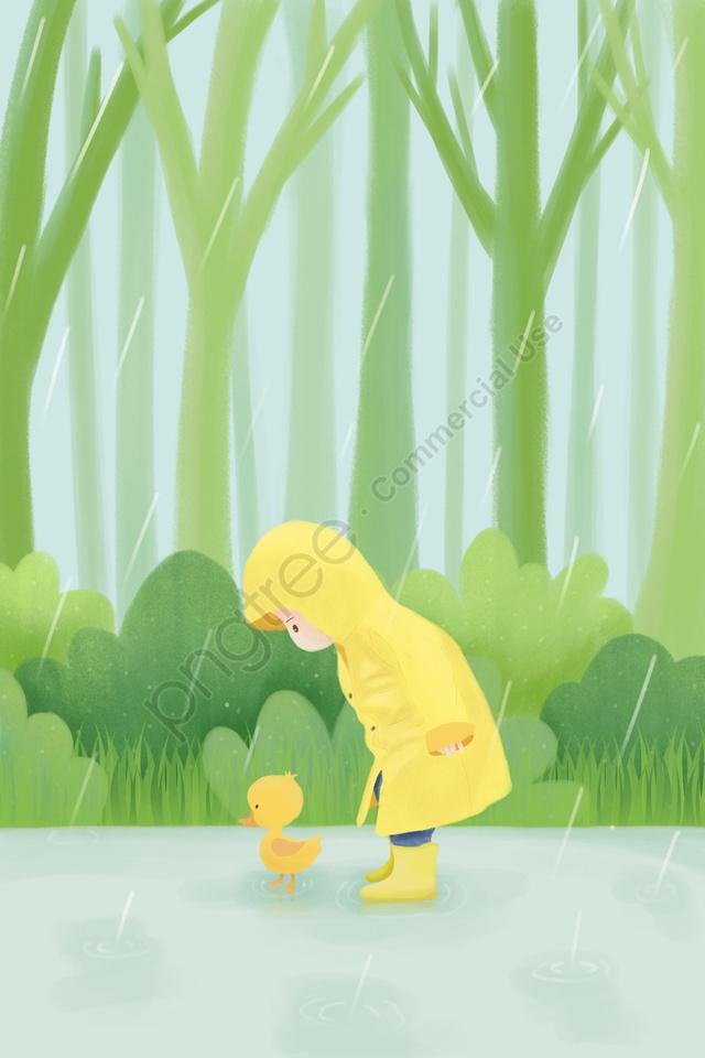 雨水春ソーラーイラストレーター24ソーラー用語, 春, 子供のイラスト, 漫画子供 llustration image