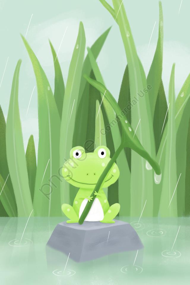 雨水春ソーラーイラストレーター24ソーラー用語, 春, 子供のイラスト, カエル llustration image