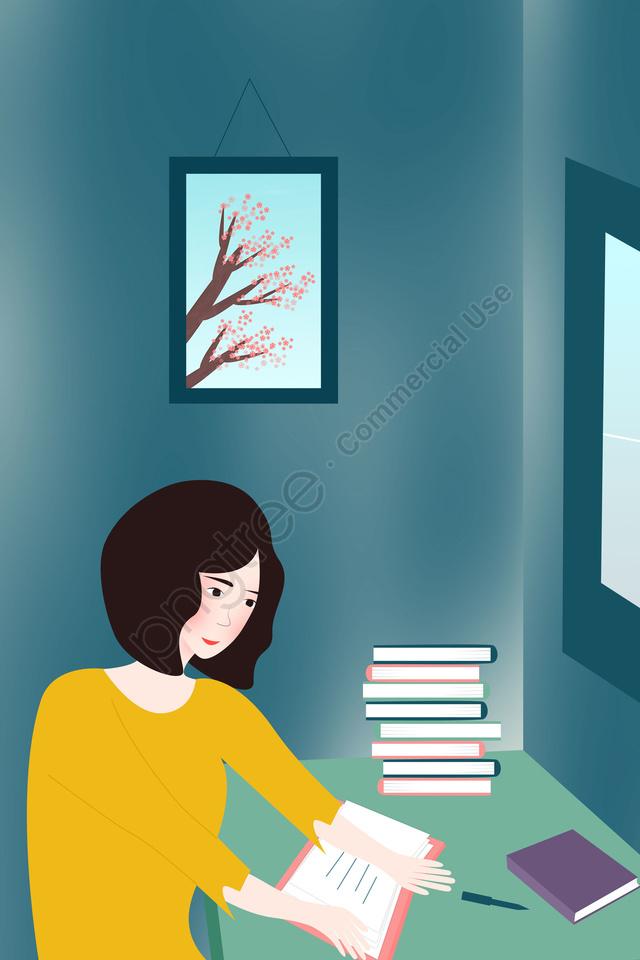 世界の日を読む世界の日を読む, 本を読んでいる女の子, テーブル, テーブルで本を読んでいる女の子 llustration image
