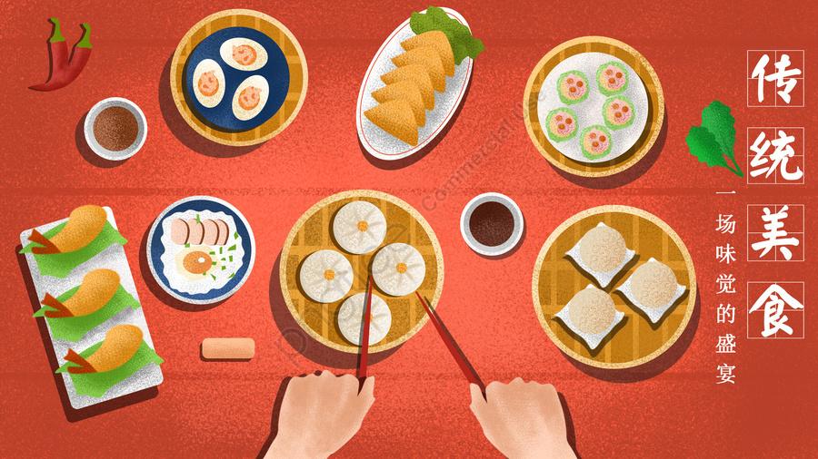 red china red food food, Traditional Food, Steamed Buns, Fried Shrimp llustration image