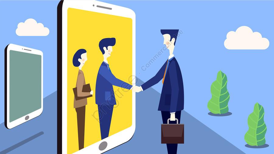 リモートでの商談交渉ハンドシェイク, 携帯電話, 協力, トラスト llustration image