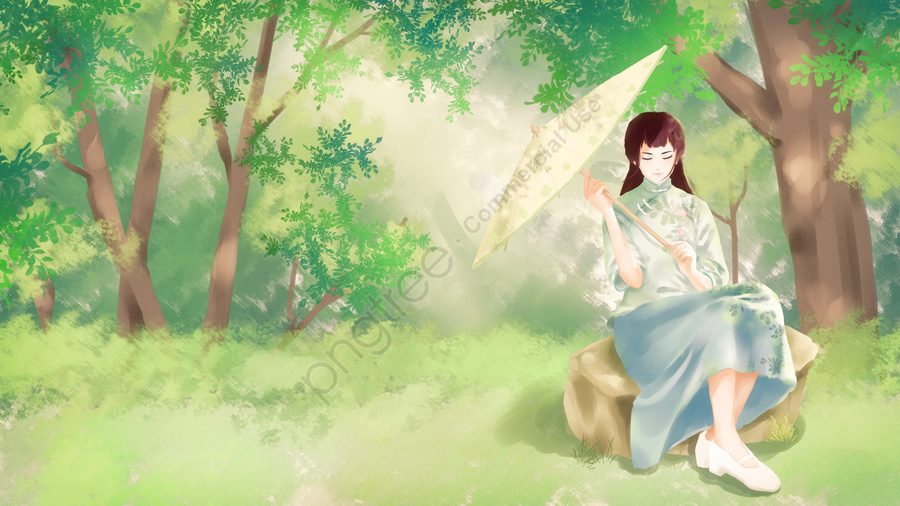 retro republic of china beautiful girl, Literary, Forest, Oil Paper Umbrella llustration image
