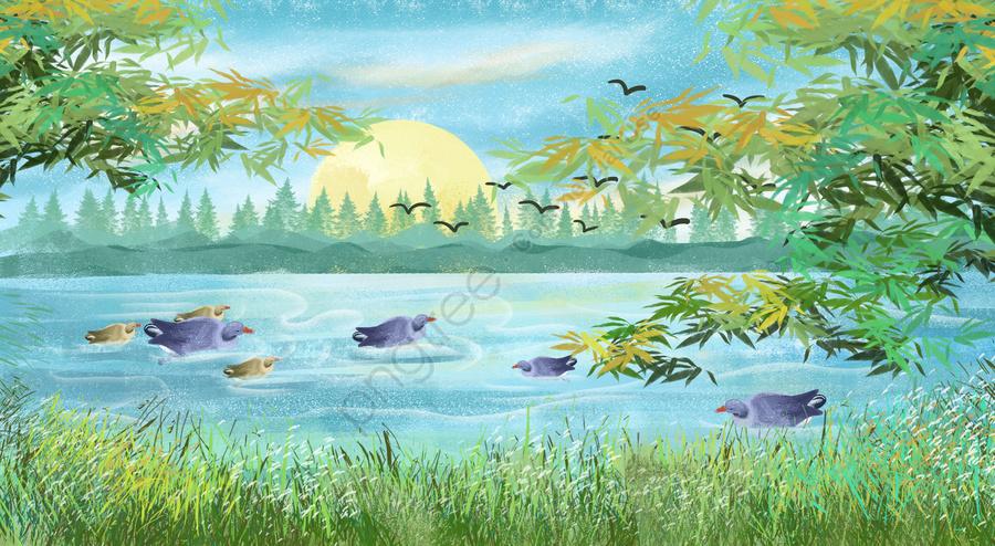 川水湖表面草木, 日光, ダック, 山 llustration image