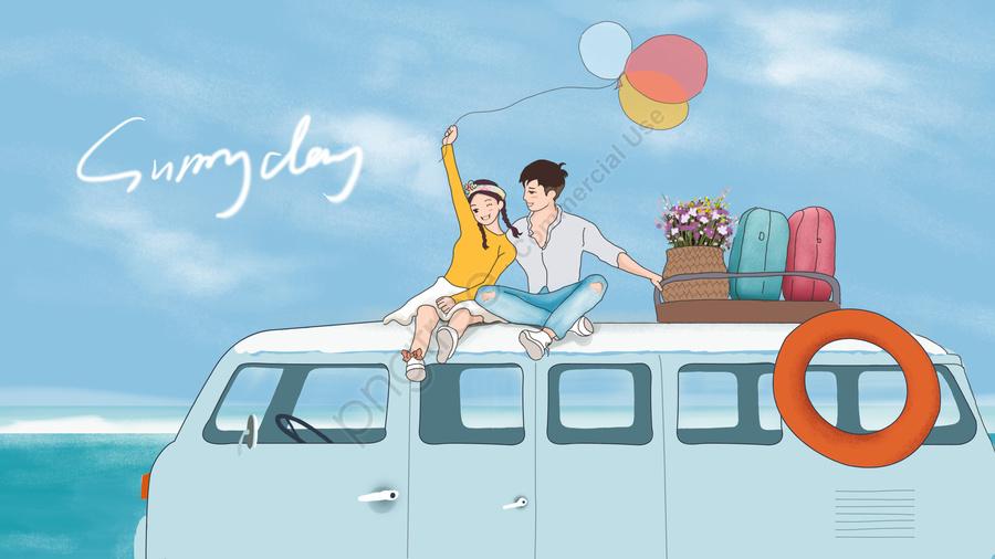 रोमांटिक युगल नियुक्ति यात्रा, आकर्षक, नीले आकाश, समुद्र llustration image