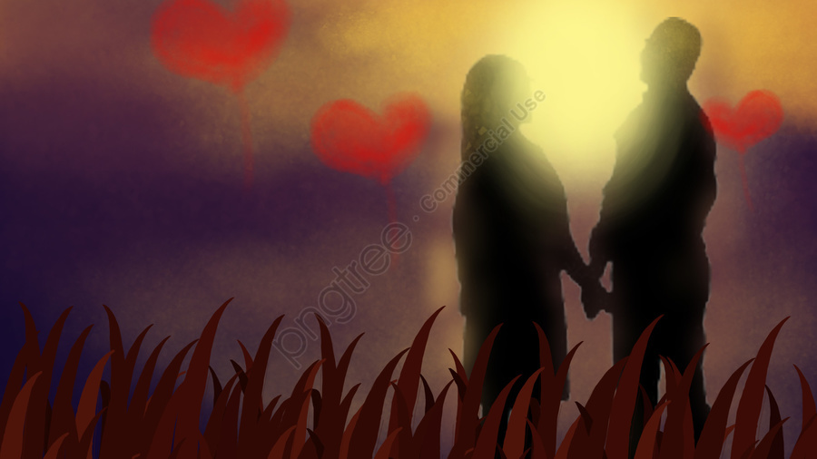 Romantic Dusk Couple Love, Love, Hope, Home llustration image