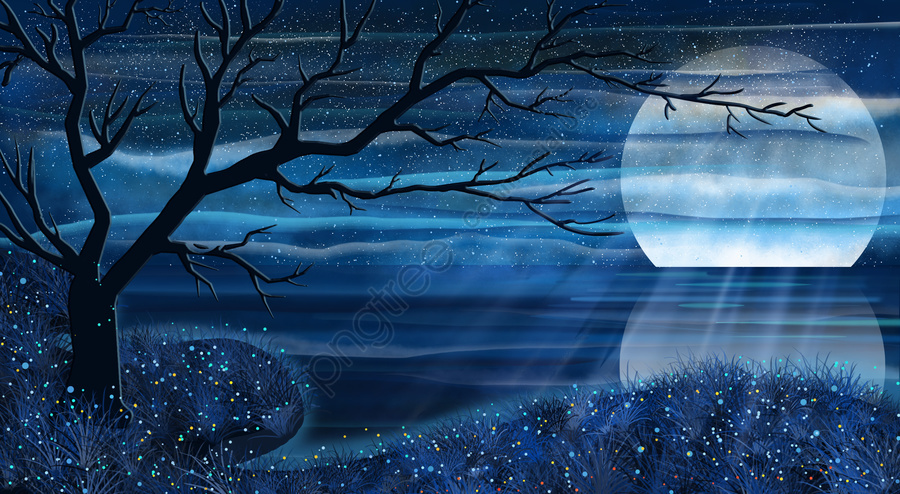 romantic starry sky moonlight reflection, Lake Surface, Tree, Silhouette llustration image