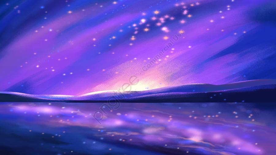 Lãng Mạn Bầu Trời đầy Sao ánh Trăng Phản Chiếu, Hồ, Cây, Hồ Sơ llustration image