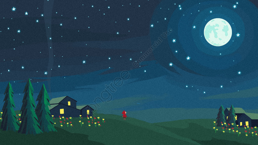 Round Moon Moon Starry Sky Star, Star, Smoke, Country llustration image