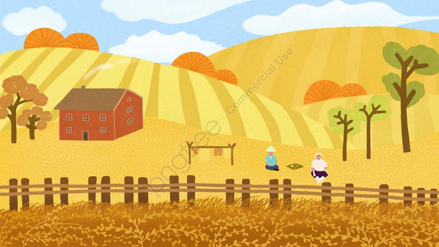 農村農民收穫秋天, 麥田, 幸福的, 黃色的 llustration image