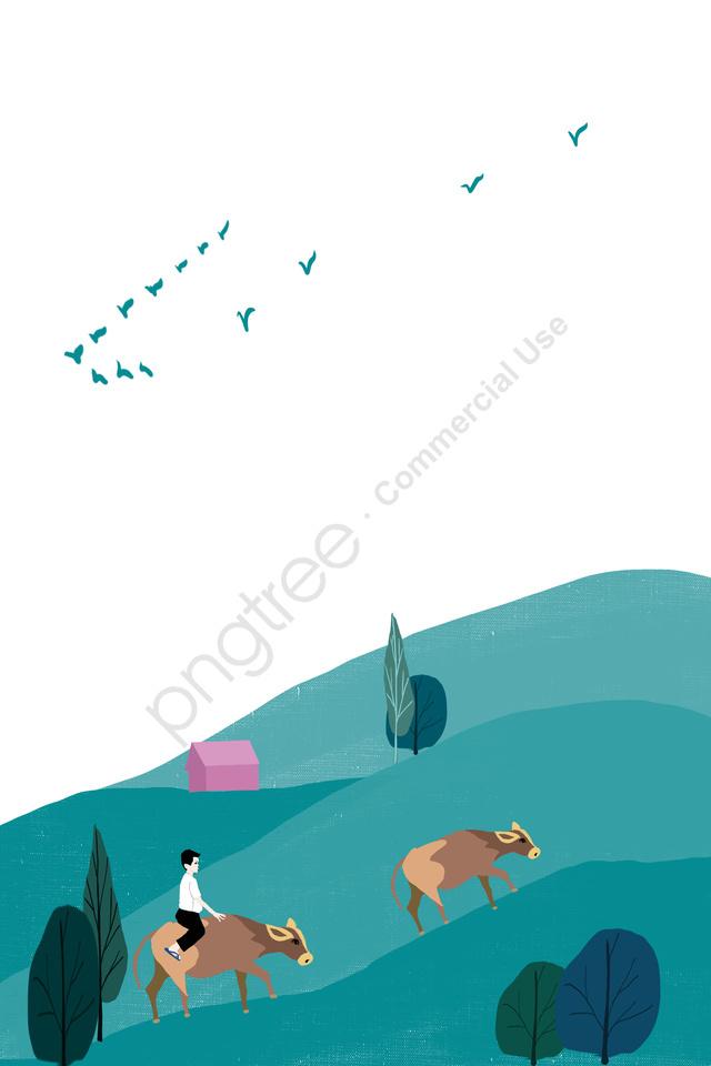 農村山坡牛海報, 森林, 粉紅色的房子, 雁 llustration image