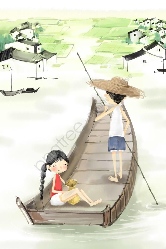農村江南ウォータータウンシップの背景素材, イラスト, ボート, 水田 llustration image