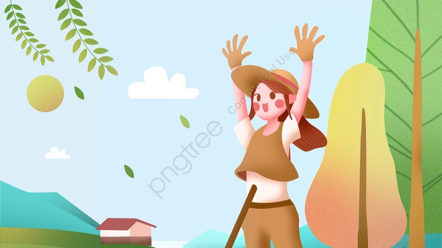 農村生活農村美麗, 農事, 農村的, 生活 llustration image