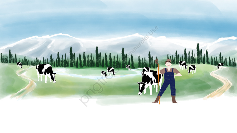 農村牧場新疆天山, 奶牛, 海報, 雪山 llustration image