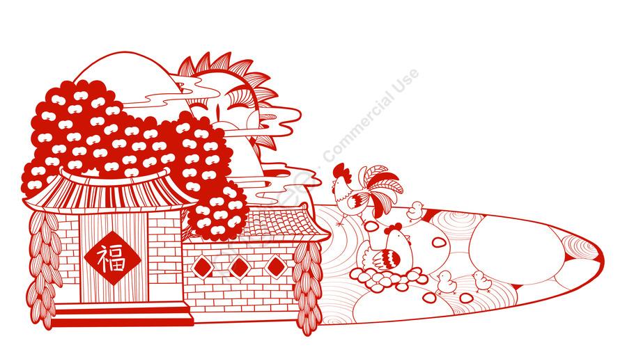 Cắt Giấy Gà Nông Thôn, Cuộc Sống, Hình Minh Họa, Trứng. llustration image