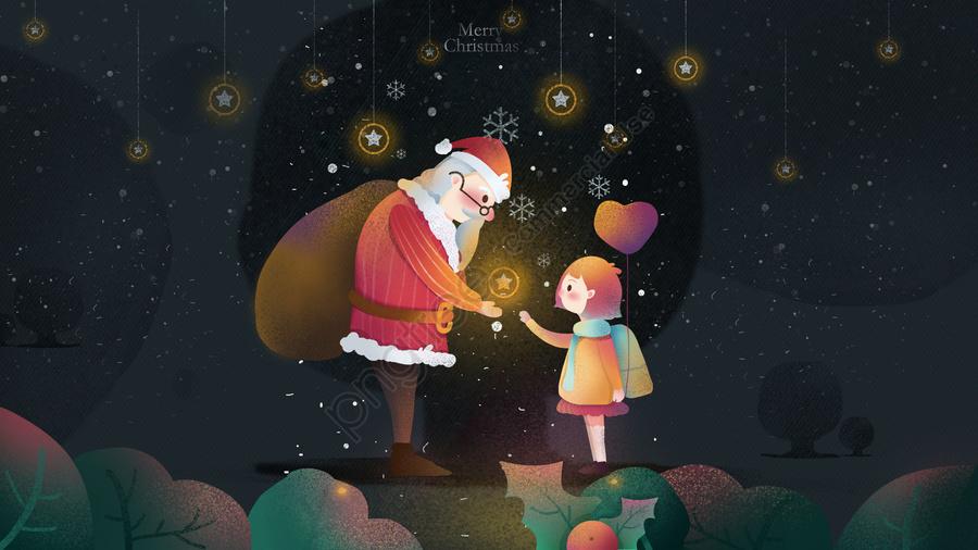 سانتا كلوز الطفل هدية عيد الميلاد قبعة, الثلج يتساقط, الشتاء, ضوء النجوم llustration image