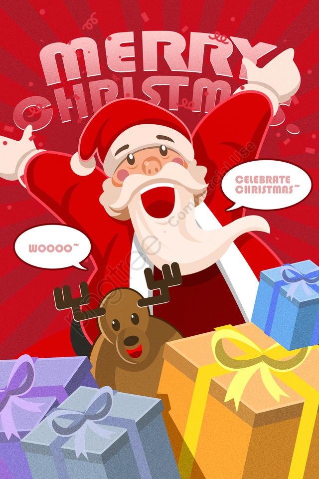 سانتا كلوز هدايا عيد الميلاد الأيائل عيد الميلاد, عيد ميلاد سعيد, هدية, المثال التوضيحي llustration image