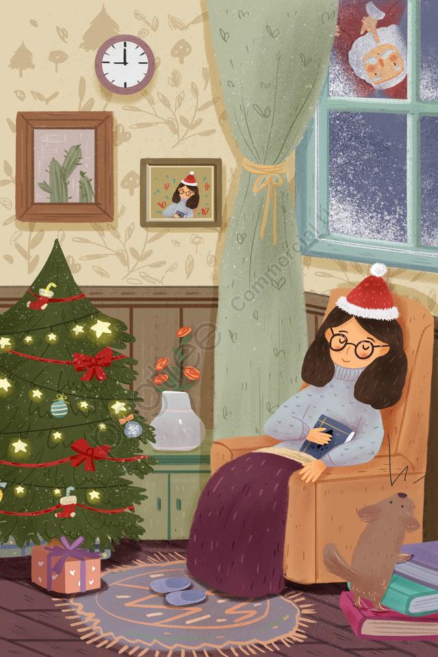 سانتا كلوز عيد الميلاد فتاة شجرة عيد الميلاد, هدية, حيوان, الكلب llustration image