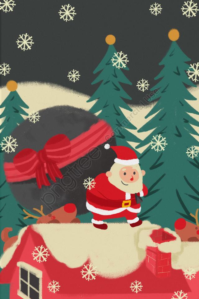 Claus Santa، أقات أثناء الشتاء، Illustration, شجرة عيد الميلاد, عيد الميلاد, جبل الثلج llustration image