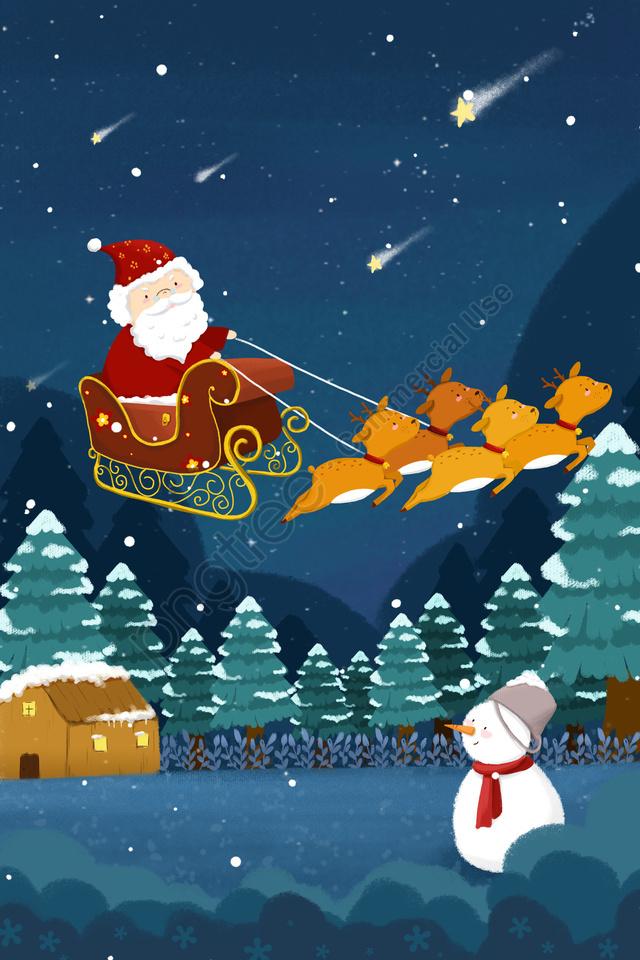 سانتا كلوز ثلج الأيائل الأزرق, كرتون, سانتا كلوز, ثلج llustration image