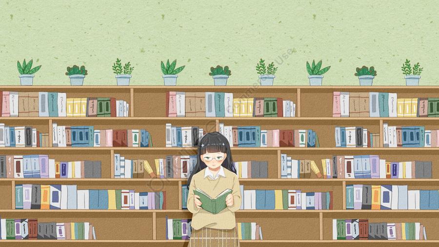 スクールライフ高校大学図書館, 十代の少女, ガール, 読書 llustration image