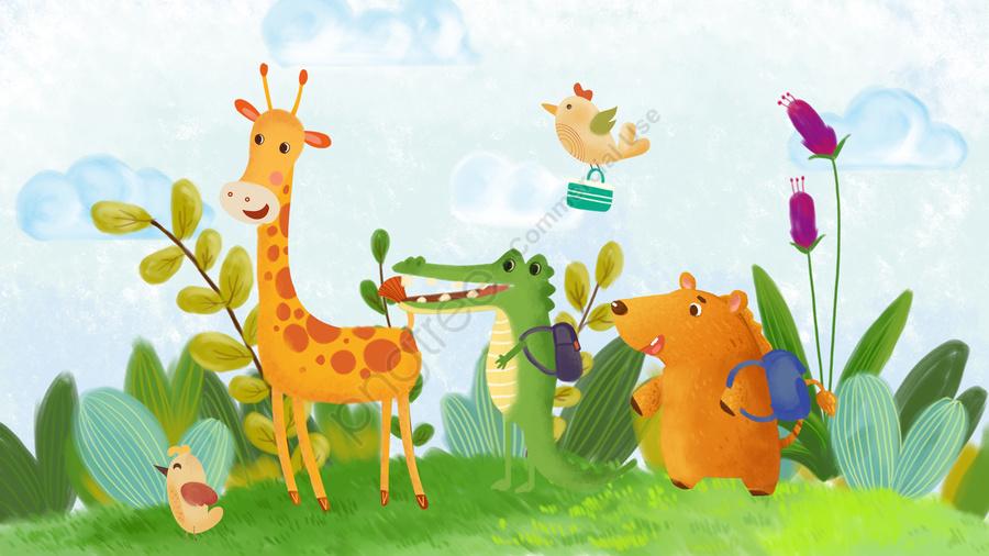 school season cartoon small animals carry schoolbag, Para, Escola, Mão llustration image